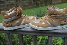 slightly used Brown and Silver MK (Michael Kors) High Tops, Rare