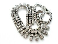 "Kramer Clear Rhinestone Necklace Vintage New York Vintage Jewelry 16"" Long W"