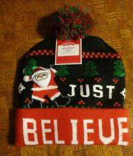 Holiday Time Just Believe Santa Knitted Christmas Hat