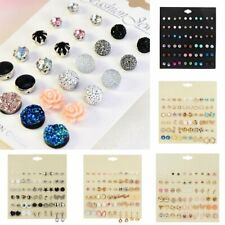 30 Pairs Women Rhinestone Crystal Pearl Earrings Set Fashion Ear Stud Dangle