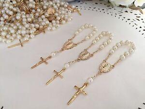 25 Pc Mini Rosary Ivory Pearls Baptism Favors/vintage Gold/ recuerdos De Bautizo