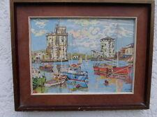 C.Maccou -1999-port de La Rochelle acrylique sur panneau encadrement caisse Amer