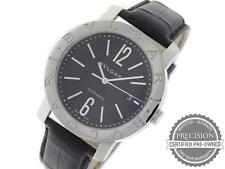 BVLGARI BULGARI AUTOMATIC 42MM MENS BLACK DIAL LOGO STEEL LEATHER STRAP BB 42 BS