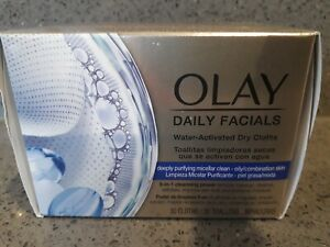 OLAY Daily Facials 5 in 1 Cleansing Wipes Water Activated Dry Cloths 30 cloths.