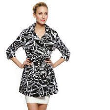 NWT Vertigo black & white Light jacket / trench Coat with Lining & Belt. Sz XL