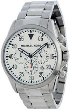 MICHAEL KORS MK8331 MENS SILVER STAINLESS STEEL CHRONOGRAPH BIG LARGE FACE WATCH