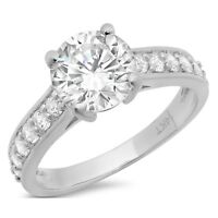 2.05ct Round Cut Wedding Bridal Engagement Anniversary Ring Solid 14k White Gold
