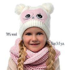 Cat Ear Girl Kids Winter Warm Crochet Knit Pom Pom Hat Cap Beanie Infinity Scarf