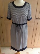 GREAT MARKS & SPENCER NAVY AND WHITE STRIPED DRESS UK SIZE 8 NWOT