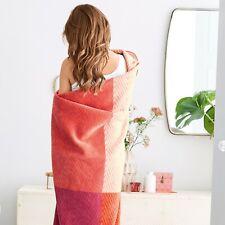 s.Oliver Vibrant Orange/Pink Color Block Throw Blanket by IBENA