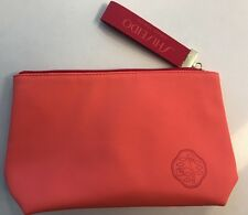 Shiseido Orange Coral Red Makeup Bag Cosmetic Pouch Toiletry Travel Case Zip NEW