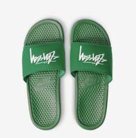 2020 Stussy x Nike Benassi Slides Sandals Size 11 12 Pine Green White DC5239-300