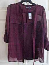 Ladies 2 Piece Shirt & Camisole Set Wine  Size Large New