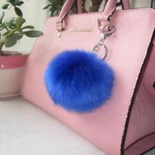 Pompon Charm Lovely Blue Ball Fur PomPom Keychain Purse Pendant Key Ring Keyfob
