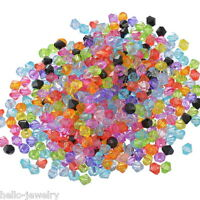 1000 Neu Mix Doppelkegel Bicone Rhomben Facettiert Beads Acrylperlen 6x6mm