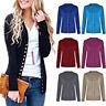 Women Low Cut V-Neck Button Down Cardigan Sweater Solid Long Sleeve Knitwear