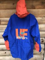 VTG 90s M The Game Flordia Gators NCAA Nylon Blue 1/4 Zip Hooded Jacket Pullover