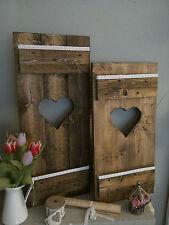 2 Fensterladen vintage braun Herz ♥HOLZ Wand-Deko ,Esszimmer,Küche Shabby Spitze