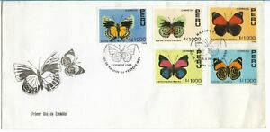 PERU 1990 BUTTERFLIES FIRST DAY COVER FAUNA INSECTS 5 VALUES FDC