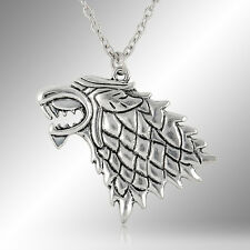 Game of Thrones Stark wolf wild Vintage Silver Pendant Inspired Necklace mens