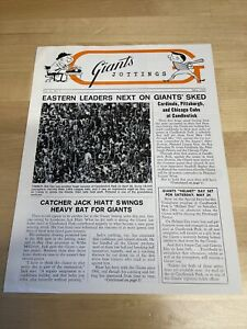 Vintage May 1969 Vol 11 No 2  Giants Jottings Baseball Newsletter-  WILLIE MAYS!