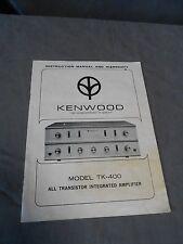 Original Vintage Kenwood Model TK-400 Amplifier Amp Owners Instruction Manual