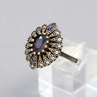 Turkish Handmade Amethyst 925 Silver Women Ring Marquise Cut
