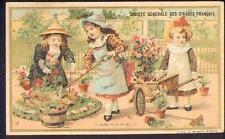 Chromo Cirages français scène enfantine brouette jardin jardinier garden fleur
