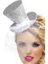 Plata de veinte años veinte burlesco Glitter Mini Sombrero De Copa Fancy Dress Accesorios 21192