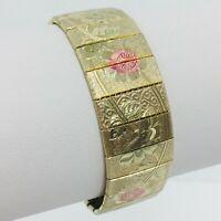 """Vintage Etched Floral Panel Bracelet Gold Tone Pink Flower Metal Mesh 6.5"""""""