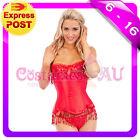 Ladies Burlesque Boned Red Corset Dress Up Costume Showgirl Bustier Fancy Dress