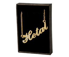 """Name Necklace """"HETAL"""" - 18ct Gold Plated - Made With Swarovski Elements- Stylish"""