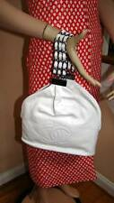 CHANEL NWT Spring 2007 07P White Lamb Bucket Style Bag with Multi-Chain Bracelet