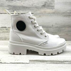 Palladium Pallabase Twill Sneaker Boots Platform Lug Soles Side Zip Women Sz 6.5