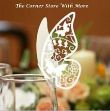 120 Placecards Pearl Ivory Shimmer Butterfly Name Place Glass Card Wedding