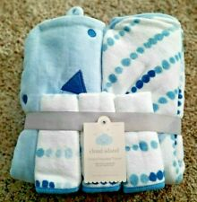Cloud Island 5Pc. Infant Hooded Towel Set With Washcloths - Blue - 100% Cotton