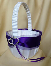 WHITE/LIGHT IVORY PURPLE DIAMANTE HEARTS FLOWER GIRL BASKET/WEDDING ACCESSORY