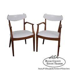 Drexel Suncoast Kipp Stewart Pair of Solid Wood White Leather Arm Chairs (B)