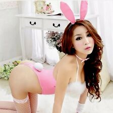 Pink Bunny Rabbit Playsuit Lingerie Naughty Halloween Cosplay Dress Up Fluffy