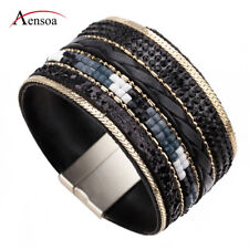 Vintage Women Alloy Wide Leather Crystal Beads Wrap Charm Bracelet Jewelry Gift