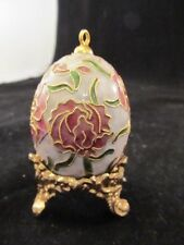 Chinese Cloisonne Egg White Ground Decorated With Pink Roses Includes Stand