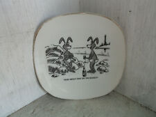 """Comical Humorous Rabbits How About On One The Rocks Barware Pin Dish 5"""""""
