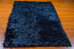 Rug Faux fur area rug Navy Shaggy rectangle plush Sheepskin Bedroom living room