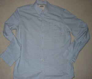 Mens VANS Blue & White Striped Long Sleeve Shirt size MEDIUM