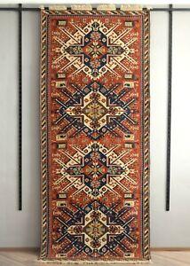 "Vintage Caucasian Soumak Chelaberd Eagle Kazak Rug kilim runner carpet 4'1""x10'"