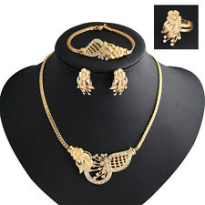 Fashion Women Wedding Jewelry Set Gold Plated Necklace Earrings Set Gift Cheaply