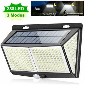 288 LED Solar Powered PIR Motion Sensor Light Garden Outdoor Security Wall Light
