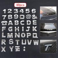 40PCS 3D Car Truck Alphabet letter Number Symbol Emblem Badge Decal Sticker Kit