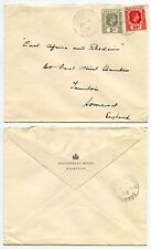 MAURITIUS GOVERNMENT HOUSE ENVELOPE 1943 CROWN EMBOSSED FLAP WW2 10c + 2c