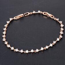New Charm Girls Rose Gold Filled Link Rhinestone Chain Bracelets Birthday